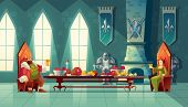 Vector Castle Hall With King And Queen Eat Lunch. Feast Table With Food, Banquet Party. Interior Of  poster