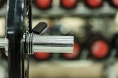 Crossfit Equipment. Dumbbell And Barbell Weight Plates On Plate Holder. Rack With Weghts Or Plate Tr poster