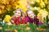 Towo Smiling young attractive women with autumn maple leaves in park at fall outdoors