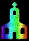 Pixel Bright Halftone Christian Church Icon Using Spectral Color Tinges With Horizontal Gradient On  poster