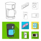 Home Appliances And Equipment Outline, Flat Icons In Set Collection For Design.modern Household Appl poster