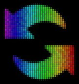 Pixel Bright Halftone Refresh Icon Using Spectrum Color Hues With Horizontal Gradient On A Black Bac poster