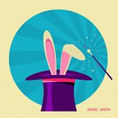 Magic Hat And White Rabbit .vector Label For Design poster