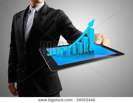 Постер, плакат: Бизнесмены рука сенсорный экран графа на планшете, холст на подрамнике
