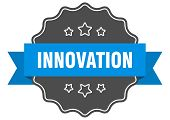 Innovation Blue Label. Innovation Isolated Seal. Innovation poster