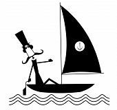 Mustache Man Sails Of The Yacht Isolated Illustration. Funny Long Mustache Man In The Top Hat Sails  poster