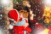 Happy Family. Santa Claus Coming. Mother And Little Child Boy Adorable Friendly Family Having Fun. F poster