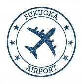 Fukuoka Airport Logo. Airport Stamp Vector Illustration. Fukuoka Aerodrome. poster