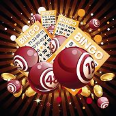 Bingo or lottery balls and cards on shiny background