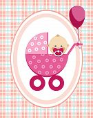 Baby, Girl, Greeting Card, Pink Checkered Background, Vector. A Little Girl In A Pink Stroller. A Pi poster