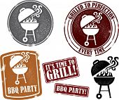 Backyard BBQ Grilling Party Stamps