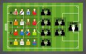 Euro 2012 tournament scheme on soccer (football) green field. Vector template