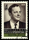 Vintage Postage Stamp. Academician  L. A. Artsimovich.