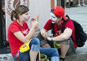 Russian Fans Make Face Painting Before Football Match With Greece