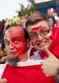 Warsaw, Poland - June 16: Polish Fans At Warsaw Streets Before U