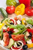 healthy greek salad with ingredients