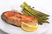 salmon with vegetables,lemon and sauce
