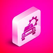 Isometric Car Service Icon Isolated On Pink Background. Auto Mechanic Service. Repair Service Auto M poster