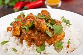 stock photo of curry chicken  - Chicken curry with rice - JPG