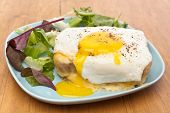 Serving of Croque Madame (Ham, Cheese, Bechamel Sauce and Egg Traditional French Toasted Sandwich) g