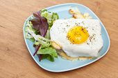 Serving of Croque Madame (Ham, Cheese and Fried Egg Sandwich)
