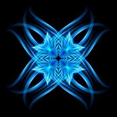 Abstract Image Of Blazing Hot Blue Fire Flower And Plasma Effects. Movement Soft Fire Flame. Beauty  poster