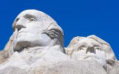 George Washington and Thomas Jefferson faces on Mount Rushmore National Memorial
