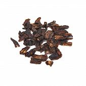 Pile Of Sun-dried Tomatoes On White Background, Top View. Object Delicious Dried Tomatoes Nature Foo poster
