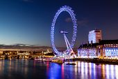 foto of london night  - London Eye and London Cityscape in the Night United Kingdom - JPG