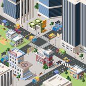 Modern City Crossroad Detailed Vector Isometric Illustration poster