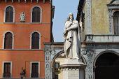image of alighieri  - Dante in front of historic facade in Verona - JPG