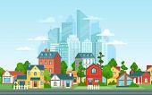 Suburban Landscape. Urban Architecture, Small And Big City Buildings. Suburbans Houses Cartoon Vecto poster
