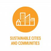 Sustainable Cities And Communities Color Icon. Creating Career And Business Opportunities, Safe And  poster