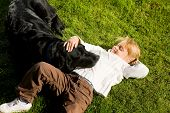 Girl, Dog, Lawn
