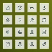 Meditation Icons Line Style Set With Hinduism, Oil Bottle, Yoga And Other Swastika Elements. Isolate poster