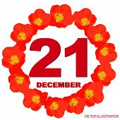 December 21 Icon. For Planning Important Day. Banner For Holidays And Special Days With Flowers. 21s poster