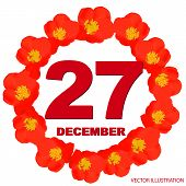 December 27 Icon. For Planning Important Day. Banner For Holidays And Special Days With Flowers. Dec poster