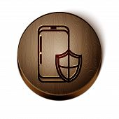 Brown Line Smartphone, Mobile Phone With Security Shield Icon Isolated On White Background. Security poster