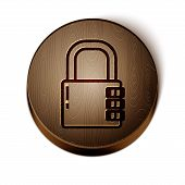 Brown Line Safe Combination Lock Icon Isolated On White Background. Combination Padlock. Security, S poster