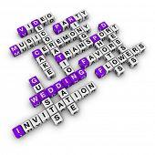 lista de casamento (série de palavras cruzadas de cubos de azul e branco)