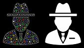 Glowing Mesh Spy Person Icon With Sparkle Effect. Abstract Illuminated Model Of Spy Person. Shiny Wi poster
