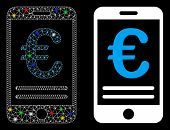 Glowing Mesh Euro Mobile Banking Icon With Lightspot Effect. Abstract Illuminated Model Of Euro Mobi poster