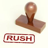 Rush Rubber Stamp Shows Speedy Urgent Delivery