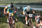 MOSCOW, RUSSIA - JUNE 9: Dmytro Titarenko (Ukraine, left) and Bart de Vocht (Belgium) in the European Mountain Bike Cross-Country Championship in Moscow, Russia at June 9, 2012