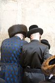 Hasidic Chassidic Jews Praying At The Western Wall Jerusalem Israel