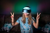 Helmet Of Virtual Reality. Girl Wants To Get Experience Using Glasses Of A Vr Headset. Amazing Emoti poster