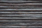 The Texture Of An Aged Wooden Wall Of Planks Without Painting. Old Wall Made Of Curved Dark Planks poster