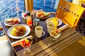 Dining Room Buffet Aboard The Abstract Luxury Cruise Ship. Breakfast With Sea View poster