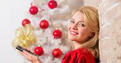 Woman Pretty Peaceful Dreamy Face Hold Smartphone Enjoy Mobile Phone Conversation. Girl Near Christm poster