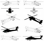 stock photo of attack helicopter  - Military Attack Chopper Helicopter Isolated Illustraion Vector - JPG